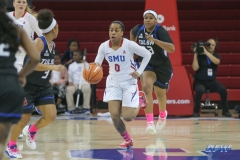 UNIVERSITY PARK, TX - FEBRUARY 07: Southern Methodist Mustangs guard Kiara Perry (0) brings the ball up court during the game between SMU and Tulsa on February 7, 2018, at Moody Coliseum in Dallas, TX. (Photo by George Walker/Icon Sportswire)