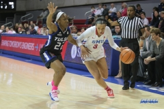 UNIVERSITY PARK, TX - FEBRUARY 07: Southern Methodist Mustangs guard McKenzie Adams (3) drives to the basket during the game between SMU and Tulsa on February 7, 2018, at Moody Coliseum in Dallas, TX. (Photo by George Walker/Icon Sportswire)
