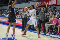 UNIVERSITY PARK, TX - FEBRUARY 07: Southern Methodist Mustangs guard Kiara Perry (0) looks to pass the ball during the game between SMU and Tulsa on February 7, 2018, at Moody Coliseum in Dallas, TX. (Photo by George Walker/Icon Sportswire)