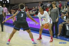 UNIVERSITY PARK, TX - FEBRUARY 07: Southern Methodist Mustangs guard Mikayla Reese (4) looks to pass the ball during the game between SMU and Tulsa on February 7, 2018, at Moody Coliseum in Dallas, TX. (Photo by George Walker/Icon Sportswire)