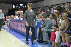 UNIVERSITY PARK, TX - FEBRUARY 07: Tulsa Golden Hurricane head coach Matilda Mossman paces the sideline during the game between SMU and Tulsa on February 7, 2018, at Moody Coliseum in Dallas, TX. (Photo by George Walker/Icon Sportswire)