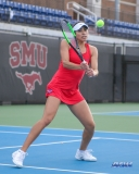 DALLAS, TX - FEBRUARY 09: Ana Perez-Lopez hits a backhand during the SMU women's tennis match vs UCF on February 9, 2018, at the SMU Tennis Complex, Turpin Stadium & Brookshire Family Pavilion in Dallas, TX. (Photo by George Walker/DFWsportsonline)