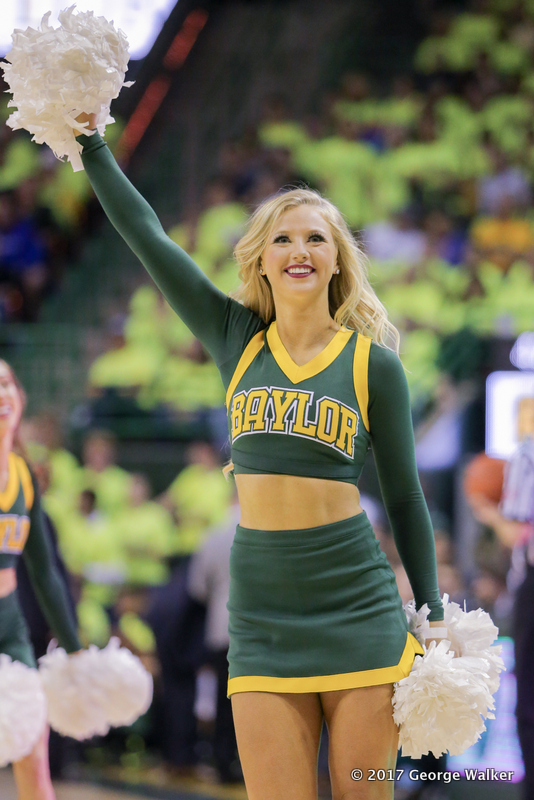 WACO, TX - FEBRUARY 18: A Baylor Bears cheerleader performs during the men's basketball game between Baylor and Kansas on February 18, 2017, at the Ferrell Center in Waco, TX. (Photo by George Walker/Icon Sportswire)