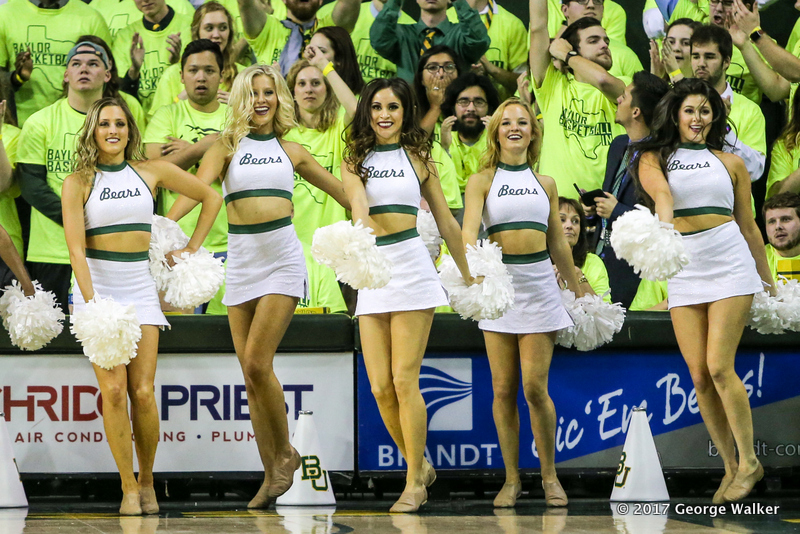 WACO, TX - FEBRUARY 18: Baylor Bears songleaders perform during the men's basketball game between Baylor and Kansas on February 18, 2017, at the Ferrell Center in Waco, TX. (Photo by George Walker/Icon Sportswire)