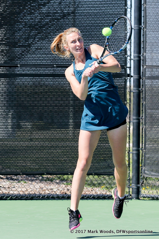 Maria Kononova during the women's tennis match between North Texas and Nevada on February 25, 2017 at Waranch Tennis Complex in Denton, TX. (Photo by Mark Woods/DFWsportsonline)