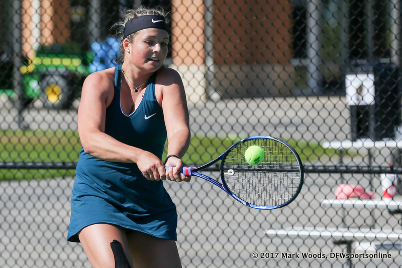 Alexandra Heczey during the women's tennis match between North Texas and Nevada on February 25, 2017 at Waranch Tennis Complex in Denton, TX. (Photo by Mark Woods/DFWsportsonline)