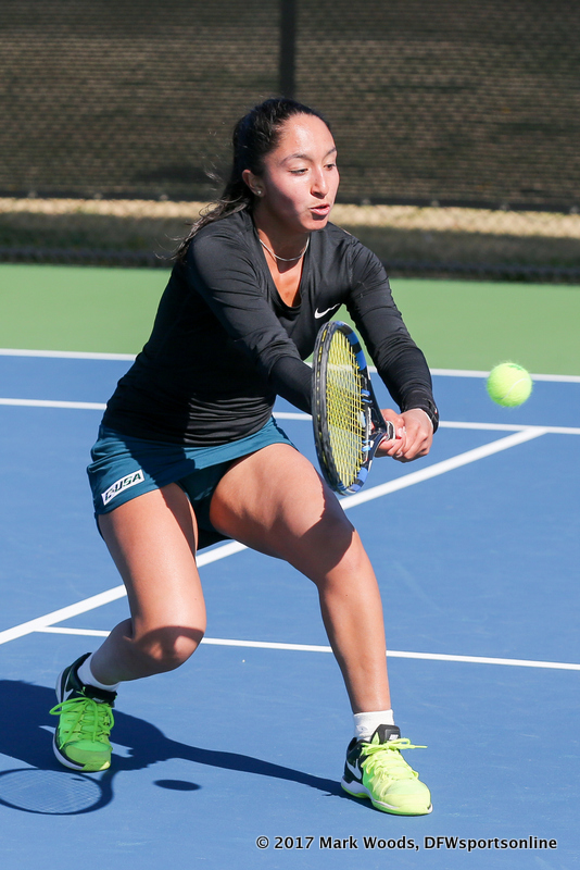 Laura Arciniegas during the women's tennis match between North Texas and Nevada on February 25, 2017 at Waranch Tennis Complex in Denton, TX. (Photo by Mark Woods/DFWsportsonline)