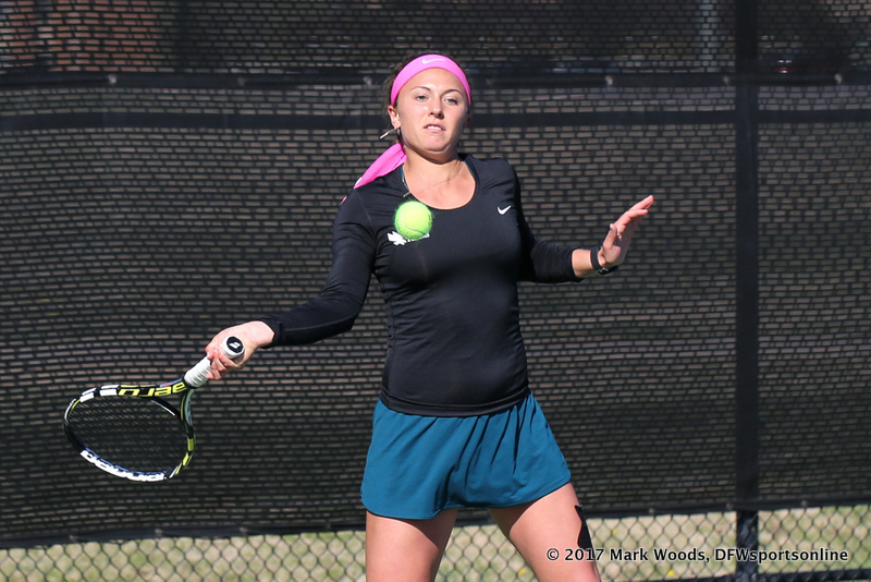 Alexis Thoma during the women's tennis match between North Texas and Nevada on February 25, 2017 at Waranch Tennis Complex in Denton, TX. (Photo by Mark Woods/DFWsportsonline)
