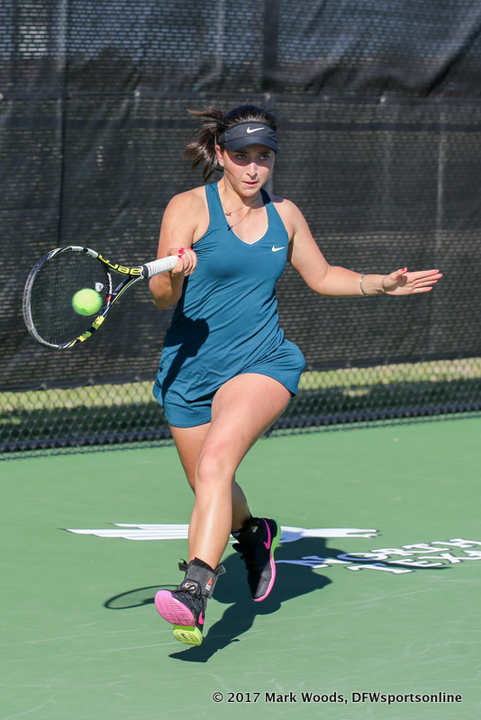 Tamuna Kutubidze during the women's tennis match between North Texas and Nevada on February 25, 2017 at Waranch Tennis Complex in Denton, TX. (Photo by Mark Woods/DFWsportsonline)