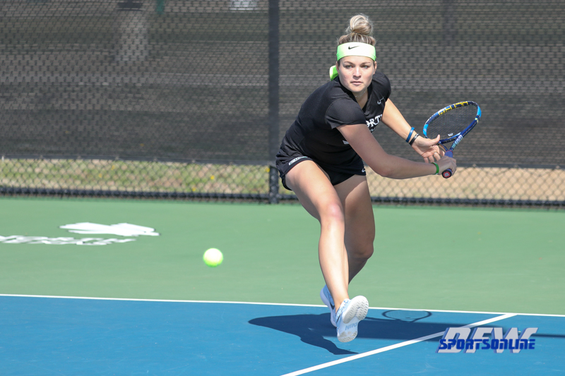 Denton, TX - February 25: Alexandra Héczey during the UNT Mean Green Women's Tennis dual match against the Marshall Thundering Herd at the Waranch Tennis Complex in Denton, TX. (Photo by Mark Woods/DFWsportsonline)