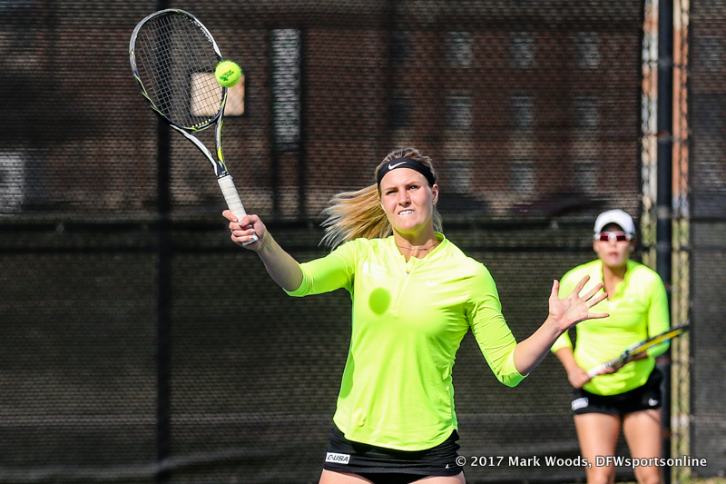 Ivana Babić during the doubles match between North Texas and Old Dominion on March 3, 2017 at Waranch Tennis Complex in Denton, TX.
