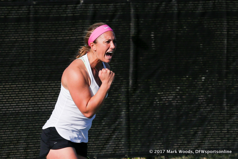 Alexis Thoma upon winning the #2 doubles match between North Texas and Old Dominion on March 3, 2017 at Waranch Tennis Complex in Denton, TX.