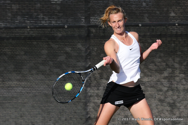 Maria Kononova during the singles match between North Texas and Old Dominion on March 3, 2017 at Waranch Tennis Complex in Denton, TX.