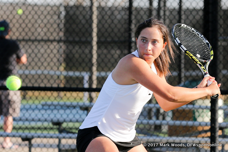 Tamuna Kutubidze during the singles match between North Texas and Old Dominion on March 3, 2017 at Waranch Tennis Complex in Denton, TX.