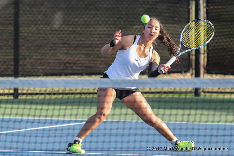 Laura Arciniegas during the singles match between North Texas and Old Dominion on March 3, 2017 at Waranch Tennis Complex in Denton, TX.