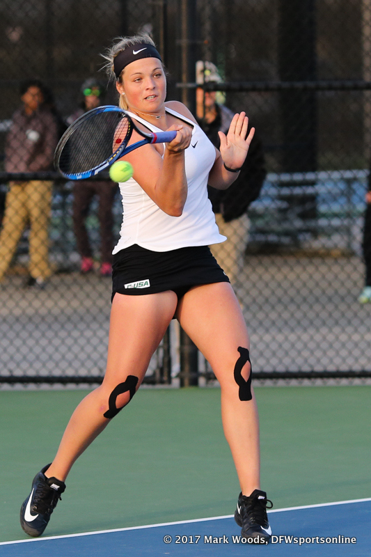 Alexandra Héczey during the singles match between North Texas and Old Dominion on March 3, 2017 at Waranch Tennis Complex in Denton, TX.