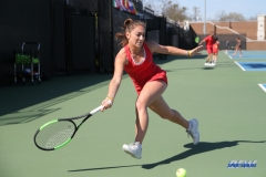 DALLAS, TX - MARCH 16: Charline Anselmo hits a forehand during the SMU women's tennis match vs Troy on March 16, 2018, at the SMU Tennis Complex, Turpin Stadium & Brookshire Family Pavilion in Dallas, TX. (Photo by George Walker/DFWsportsonline)