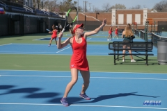 DALLAS, TX - MARCH 16: Nicole Petchey during the SMU women's tennis match vs Troy on March 16, 2018, at the SMU Tennis Complex, Turpin Stadium & Brookshire Family Pavilion in Dallas, TX. (Photo by George Walker/DFWsportsonline)