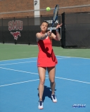DALLAS, TX - MARCH 16: Liza Buss hits a backhand during the SMU women's tennis match vs Troy on March 16, 2018, at the SMU Tennis Complex, Turpin Stadium & Brookshire Family Pavilion in Dallas, TX. (Photo by George Walker/DFWsportsonline)