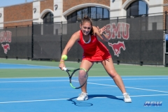 DALLAS, TX - MARCH 16: Charline Anselmo hits a backhand during the SMU women's tennis match vs Troy on March 16, 2018, at the SMU Tennis Complex, Turpin Stadium & Brookshire Family Pavilion in Dallas, TX. (Photo by George Walker/DFWsportsonline)