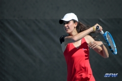 DALLAS, TX - MARCH 16: Tiffany Hollebeck hits a forehand during the SMU women's tennis match vs Troy on March 16, 2018, at the SMU Tennis Complex, Turpin Stadium & Brookshire Family Pavilion in Dallas, TX. (Photo by George Walker/DFWsportsonline)
