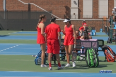 DALLAS, TX - MARCH 16: Players meet with coaches during the SMU women's tennis match vs Troy on March 16, 2018, at the SMU Tennis Complex, Turpin Stadium & Brookshire Family Pavilion in Dallas, TX. (Photo by George Walker/DFWsportsonline)