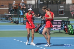 DALLAS, TX - MARCH 16: Ana Perez-Lopez and Liza Buss during the SMU women's tennis match vs Troy on March 16, 2018, at the SMU Tennis Complex, Turpin Stadium & Brookshire Family Pavilion in Dallas, TX. (Photo by George Walker/DFWsportsonline)