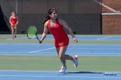 DALLAS, TX - MARCH 16: Sarai Monarrez Yesaki during the SMU women's tennis match vs Troy on March 16, 2018, at the SMU Tennis Complex, Turpin Stadium & Brookshire Family Pavilion in Dallas, TX. (Photo by George Walker/DFWsportsonline)