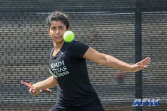 Denton, TX - March 17: Nidhi Surapaneni during the UNT Mean Green Women's Tennis dual match against Troy University at the Waranch Tennis Complex in Denton, TX. (Photo by Mark Woods/DFWsportsonline)
