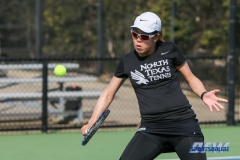 Denton, TX - March 17: Minying Liang during the UNT Mean Green Women's Tennis dual match against Troy University at the Waranch Tennis Complex in Denton, TX. (Photo by Mark Woods/DFWsportsonline)