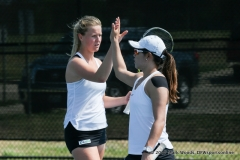Ivana Babić and Minying Liang in their doubles match against KU on March 19, 2017 at Waranch Tennis center.