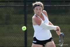Alexandra Héczey in her doubles match against KU on March 19, 2017 at Waranch Tennis center.