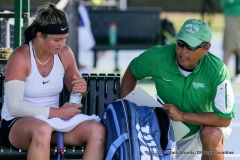 Alexandra Héczey and Head Coach Sujay Lama during a court change during the KU match on March 19, 2017 at Waranch Tennis center.