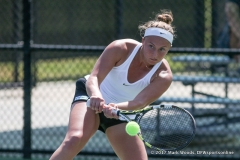 Alexis Thoma in her singles match against KU on March 19, 2017 at Waranch Tennis Center.
