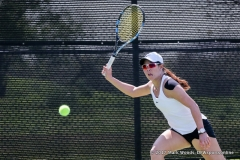 Minying Liang in her singles match against KU on March 19, 2017 at Waranch Tennis Center.