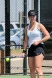 Haruka Sasaki in her singles match against KU on March 19, 2017 at Waranch Tennis Center.