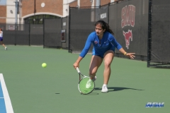 DALLAS, TX - MARCH 31: Sarai Monarrez Yesaki hits a backhand during the SMU women's tennis match vs ECU on March 31, 2018, at the SMU Tennis Complex, Turpin Stadium & Brookshire Family Pavilion in Dallas, TX. (Photo by George Walker/DFWsportsonline)