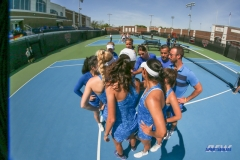 DALLAS, TX - MARCH 31: Team huddle during the SMU women's tennis match vs ECU on March 31, 2018, at the SMU Tennis Complex, Turpin Stadium & Brookshire Family Pavilion in Dallas, TX. (Photo by George Walker/DFWsportsonline)