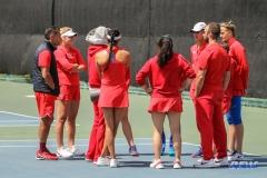 ARLINGTON, TX - APRIL 4: SMU team huddle before the women's tennis match between UTA and SMU on April 4, 2018, at the UTA Tennis Center in Arlington, TX. (Photo by George Walker/DFWsportsonline)