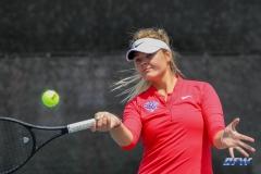 ARLINGTON, TX - APRIL 4: Anzhelika Shapovalova hits a forehand during the women's tennis match between UTA and SMU on April 4, 2018, at the UTA Tennis Center in Arlington, TX. (Photo by George Walker/DFWsportsonline)