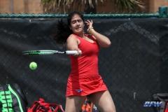 ARLINGTON, TX - APRIL 4: Sarai Monarrez Yesaki hits a forehand during the women's tennis match between UTA and SMU on April 4, 2018, at the UTA Tennis Center in Arlington, TX. (Photo by George Walker/DFWsportsonline)