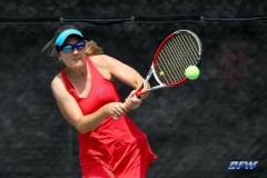 ARLINGTON, TX - APRIL 4: Karina Traxler hits a backhand during the women's tennis match between UTA and SMU on April 4, 2018, at the UTA Tennis Center in Arlington, TX. (Photo by George Walker/DFWsportsonline)