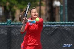 ARLINGTON, TX - APRIL 4: Liza Buss hits a backhand during the women's tennis match between UTA and SMU on April 4, 2018, at the UTA Tennis Center in Arlington, TX. (Photo by George Walker/DFWsportsonline)