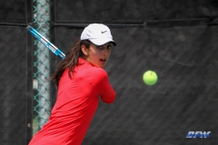 ARLINGTON, TX - APRIL 4: Tiffany Hollebeck hits a backhand during the women's tennis match between UTA and SMU on April 4, 2018, at the UTA Tennis Center in Arlington, TX. (Photo by George Walker/DFWsportsonline)