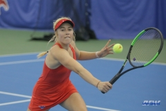 DALLAS, TX - APRIL 12: Nicole Petchey hits a backhand during the SMU women's tennis match vs North Texas on April 12, 2018, at the SMU Tennis Complex, Turpin Stadium & Brookshire Family Pavilion in Dallas, TX. (Photo by George Walker/DFWsportsonline)