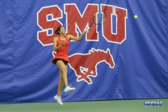 DALLAS, TX - APRIL 12: Ana Perez-Lopez hits a forehand during the SMU women's tennis match vs North Texas on April 12, 2018, at the SMU Tennis Complex, Turpin Stadium & Brookshire Family Pavilion in Dallas, TX. (Photo by George Walker/DFWsportsonline)