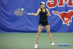 DALLAS, TX - APRIL 16: Minying Liang during the North Texas women's tennis match vs SMU on April 12, 2018, at the SMU Tennis Complex, Turpin Stadium & Brookshire Family Pavilion in Dallas, TX. (Photo by Mark Woods/DFWsportsonline)