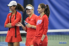 DALLAS, TX - APRIL 12: Tiffany Hollebeck, Anzhelika Shapovalova, and SMU women's tennis Head Coach Kati Gyulai share a laugh during the SMU women's tennis match vs North Texas on April 12, 2018, at the SMU Tennis Complex, Turpin Stadium & Brookshire Family Pavilion in Dallas, TX. (Photo by George Walker/DFWsportsonline)