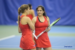 DALLAS, TX - APRIL 12: Karina Traxler and Sarai Monarrez Yesaki during the SMU women's tennis match vs North Texas on April 12, 2018, at the SMU Tennis Complex, Turpin Stadium & Brookshire Family Pavilion in Dallas, TX. (Photo by George Walker/DFWsportsonline)