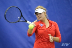DALLAS, TX - APRIL 12: Anzhelika Shapovalova hits a forehand during the SMU women's tennis match vs North Texas on April 12, 2018, at the SMU Tennis Complex, Turpin Stadium & Brookshire Family Pavilion in Dallas, TX. (Photo by George Walker/DFWsportsonline)